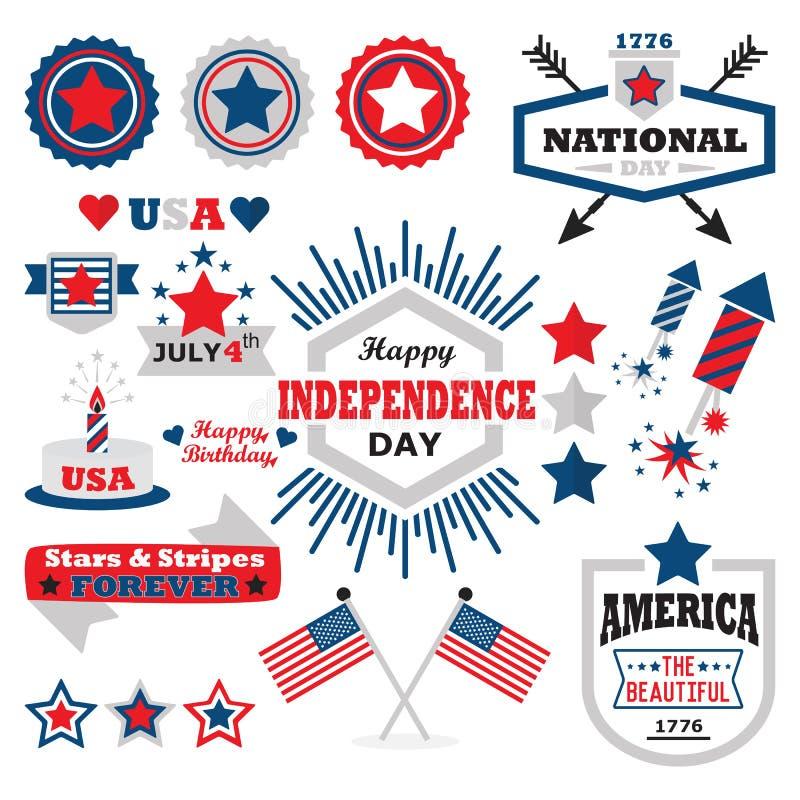 Американский счастливый комплект элементов дизайна Дня независимости иллюстрация штока