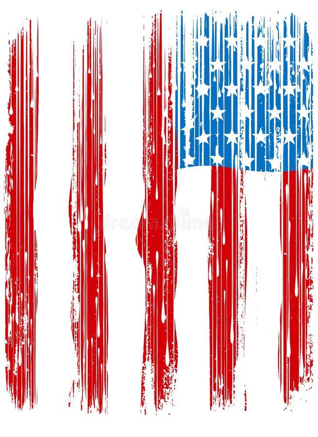 Американский сломанный флаг/винтажный дизайн флага/первоначально печать тройника иллюстрация штока