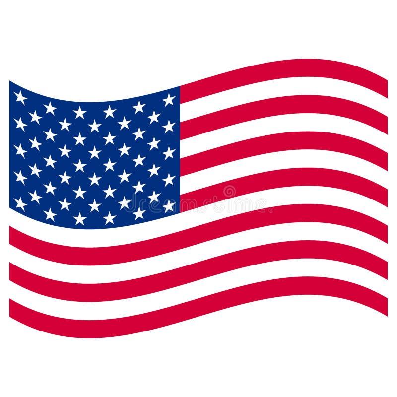 Американский флаг на белизне бесплатная иллюстрация