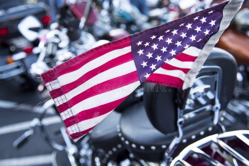 Американский флаг на мотоцикле стоковая фотография