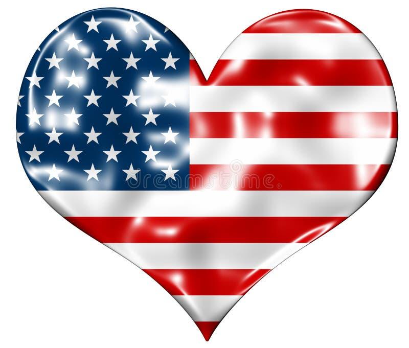 Американский флаг сердца иллюстрация вектора