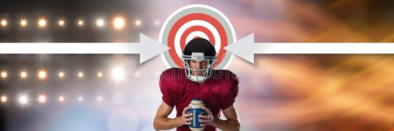 Американский футболист с переходом стадиона и стрелки указывая к цели иллюстрация вектора