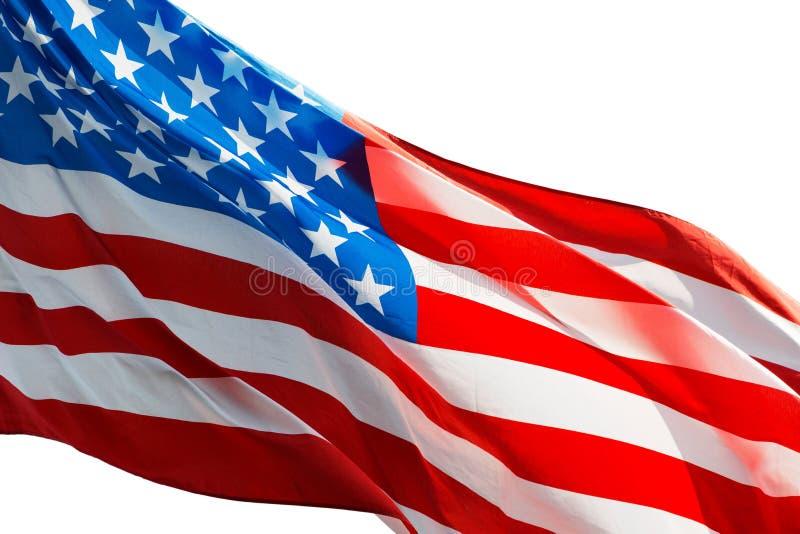 Американский флаг в ветре на белой предпосылке стоковые изображения rf