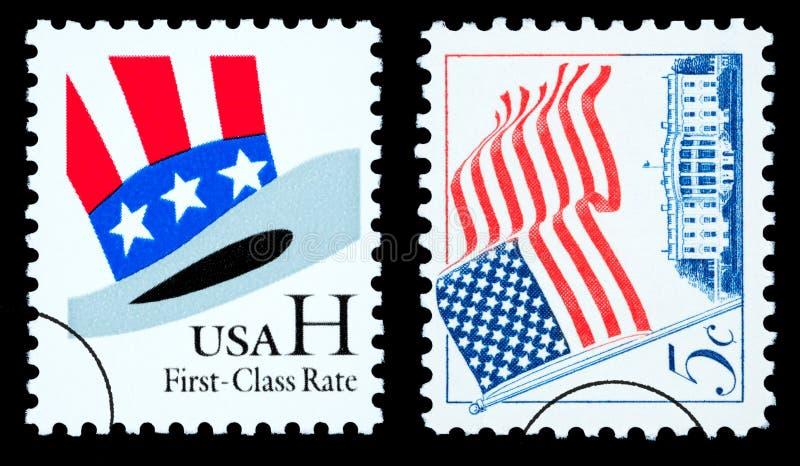 Американский флаг и штемпеля почтового сбора шляпы дядя Сэм бесплатная иллюстрация