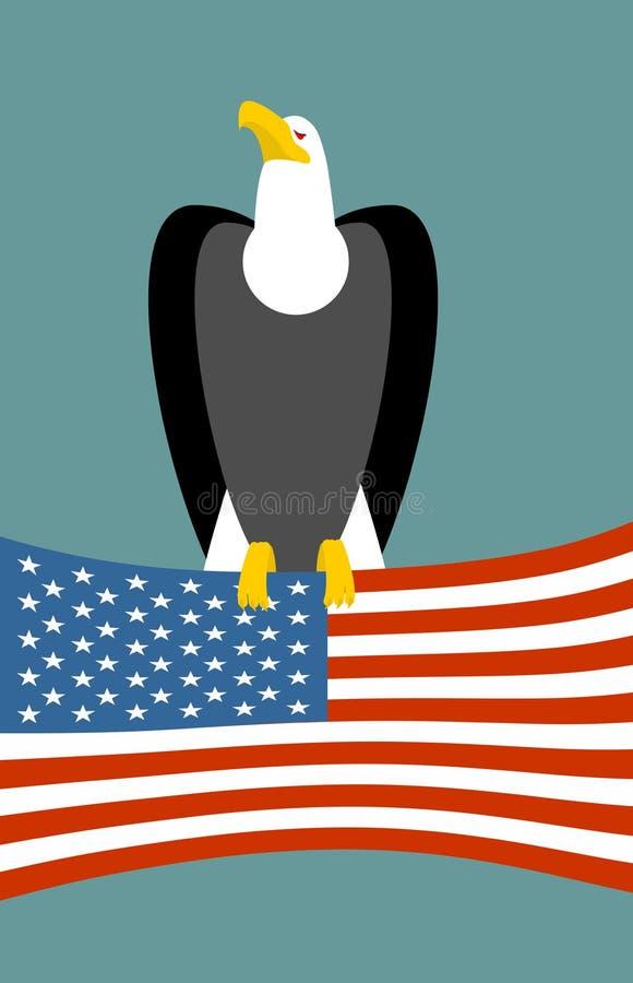 американский флаг облыселого орла Символ США национальный птицы Большие хищные птицы и государство флага иллюстрация вектора