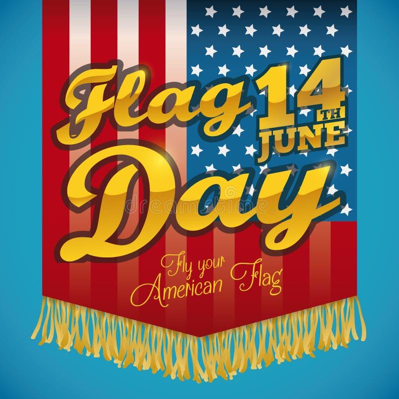 Американский флаг с краями и золотой текст на День флага, иллюстрация вектора иллюстрация вектора