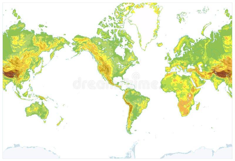 Америка центризовала детальную физическую карту мира изолированную на белизне бесплатная иллюстрация