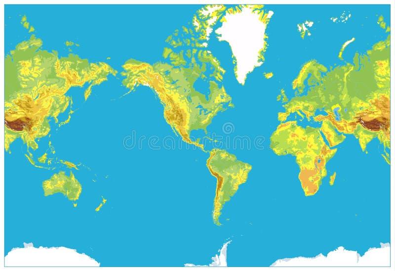 Америка центризовала детальную физическую карту мира иллюстрация вектора