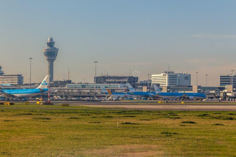 Амстердам, Нидерланды - Circa 2019 : Самолеты KLM Royal Dutch Airlines на земле стоковые изображения