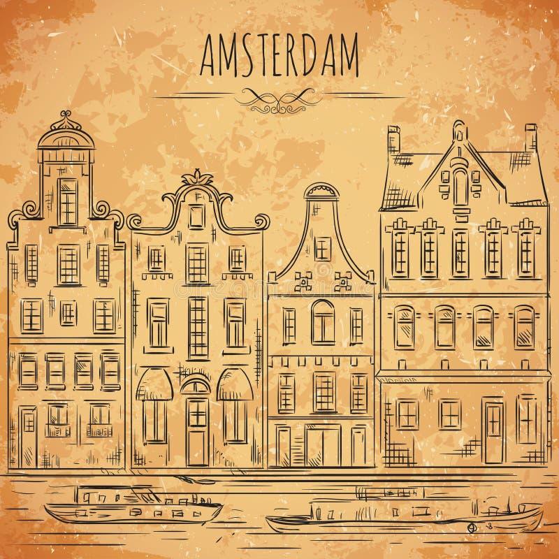 Амстердам Старые исторические здания и канал Традиционная архитектура Нидерландов иллюстрация штока