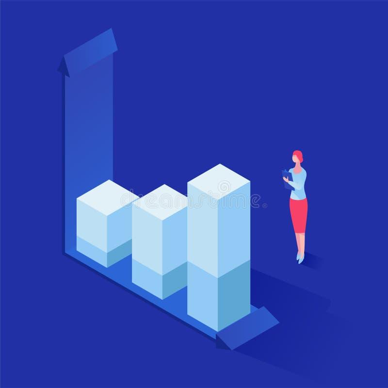 Анализировать иллюстрацию вектора статистики равновеликую Женский специалист, финансист, банкир изучая диаграммы роста бесплатная иллюстрация