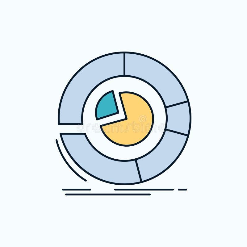 Анализ, аналитик, дело, диаграмма, значок долевой диограммы плоский зеленые и желтые знак и символы для вебсайта и мобильного app иллюстрация вектора