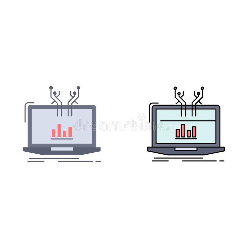 Анализ, аналитический, управление, онлайн, вектор значка цвета платформы плоский бесплатная иллюстрация
