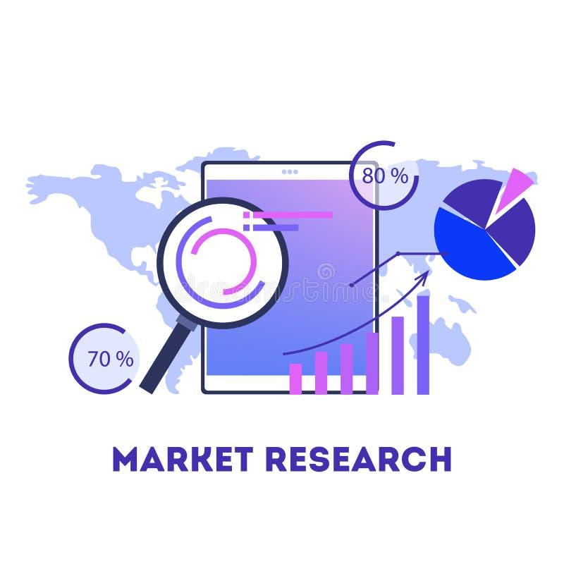 Концепция изучения рыночной конъюнктуры Анализ возможностей производства и сбыта, информация и статистика иллюстрация штока