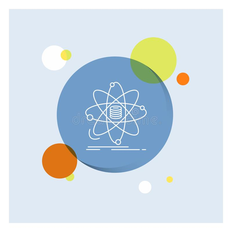 Анализ, данные, информация, исследование, линия предпосылка науки белая круга значка красочная иллюстрация штока