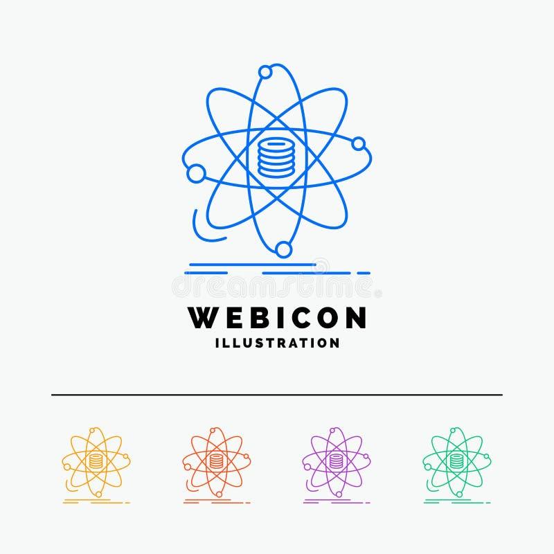 Анализ, данные, информация, исследование, шаблон значка сети цветного барьера науки 5 изолированный на белизне r иллюстрация вектора