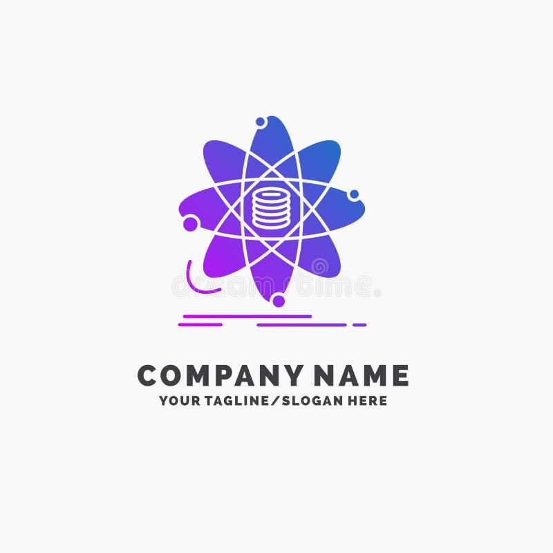 Анализ, данные, информация, исследование, шаблон логотипа дела науки пурпурный r иллюстрация штока