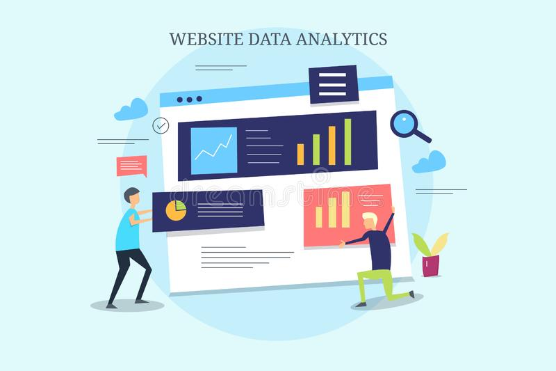 Анализ данных вебсайта, наука данных, выходя на рынок аналитик, команда seo, данные и информационный менеджмент, контролируя конц иллюстрация штока