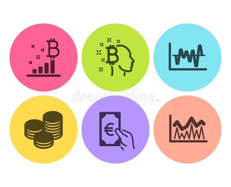 Анализ запаса, значки финансов и подсказок набор Bitcoin думает, диаграмма Bitcoin и знаки вклада r бесплатная иллюстрация