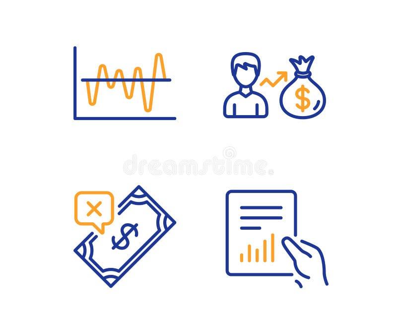 Анализ запаса, Sallary и отвергнутый набор значков оплаты Знак документа r иллюстрация вектора