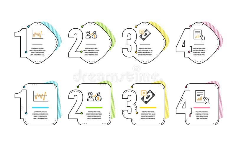 Анализ запаса, Sallary и отвергнутый набор значков оплаты Знак документа r иллюстрация штока