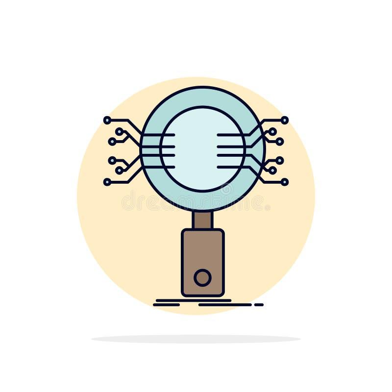 Анализ, поиск, информация, исследование, вектор значка цвета безопасностью плоский бесплатная иллюстрация