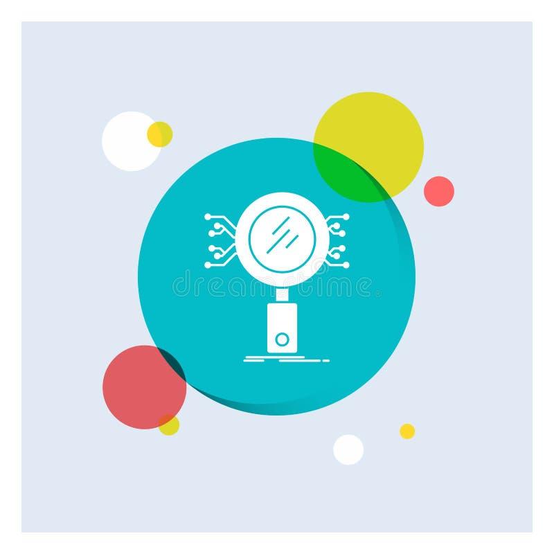 Анализ, поиск, информация, исследование, значка глифа безопасностью предпосылка круга белого красочная бесплатная иллюстрация