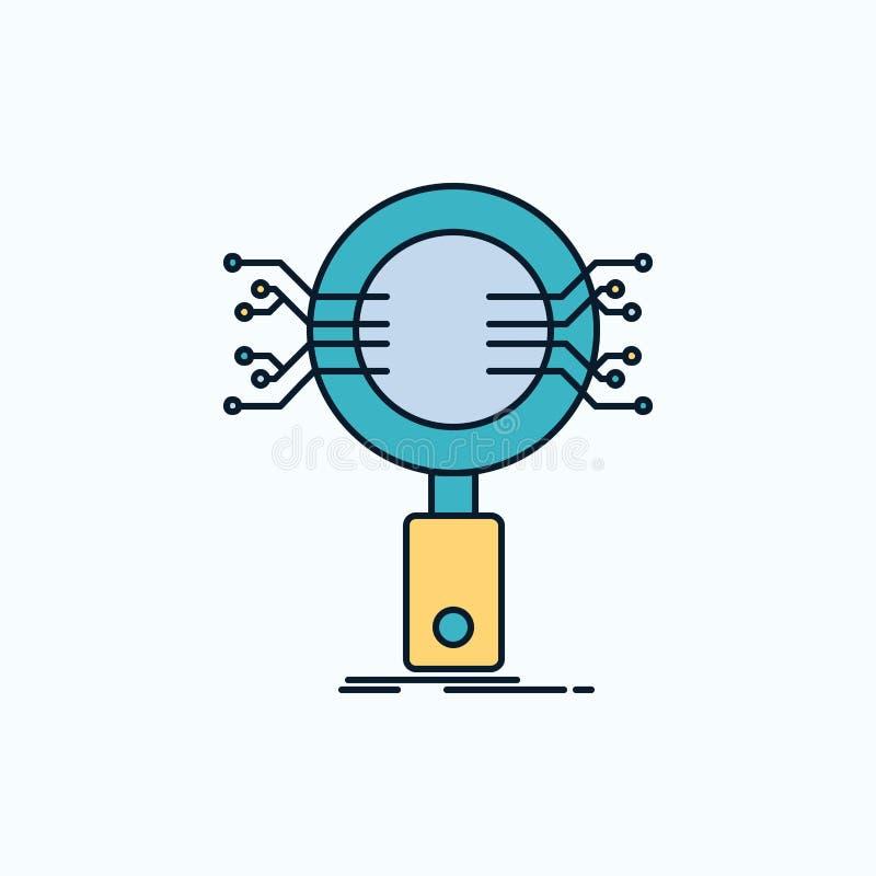 Анализ, поиск, информация, исследование, значок безопасностью плоский r иллюстрация штока