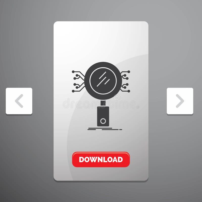 Анализ, поиск, информация, исследование, значок глифа безопасностью в дизайне слайдера пагинаций Carousal & красная кнопка загруз иллюстрация штока