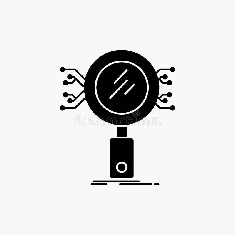 Анализ, поиск, информация, исследование, значок глифа безопасностью r иллюстрация вектора