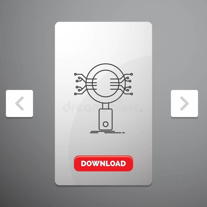 Анализ, поиск, информация, исследование, линия значок безопасностью в дизайне слайдера пагинаций Carousal & красная кнопка загруз иллюстрация штока