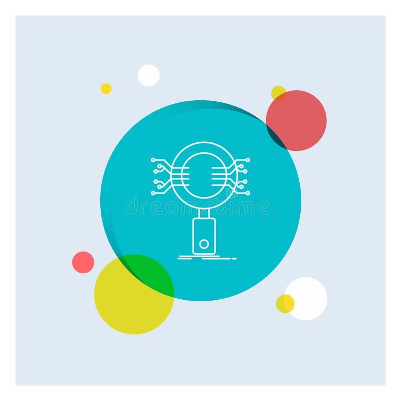 Анализ, поиск, информация, исследование, линия предпосылка безопасностью белая круга значка красочная иллюстрация штока