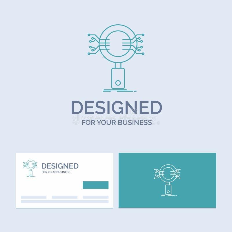 Анализ, поиск, информация, исследование, линия символ логотипа бизнеса безопасности значка для вашего дела Визитные карточки бирю иллюстрация штока