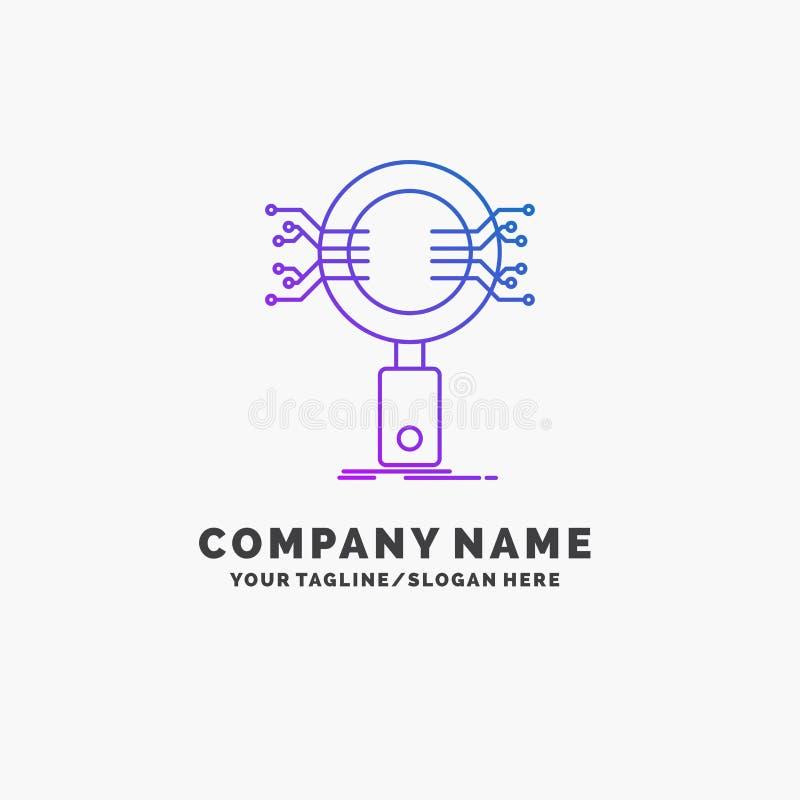 Анализ, поиск, информация, исследование, шаблон логотипа дела безопасностью пурпурный r иллюстрация штока