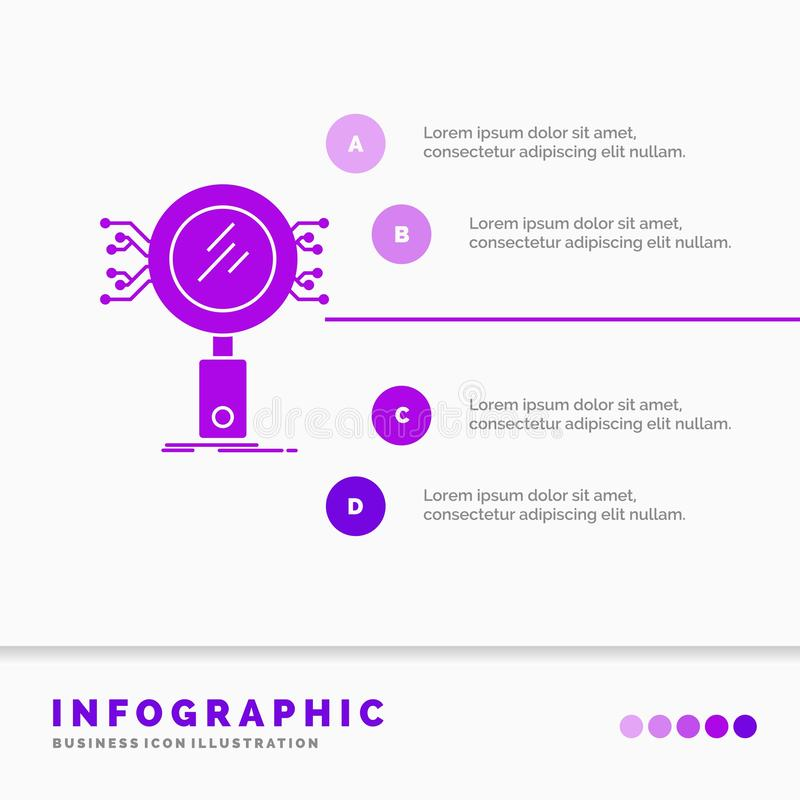 Анализ, поиск, информация, исследование, шаблон Infographics безопасностью для вебсайта и представление Значок глифа пурпурный бесплатная иллюстрация