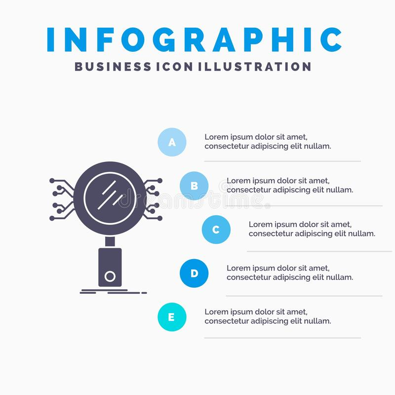 Анализ, поиск, информация, исследование, шаблон Infographics безопасностью для вебсайта и представление r иллюстрация вектора