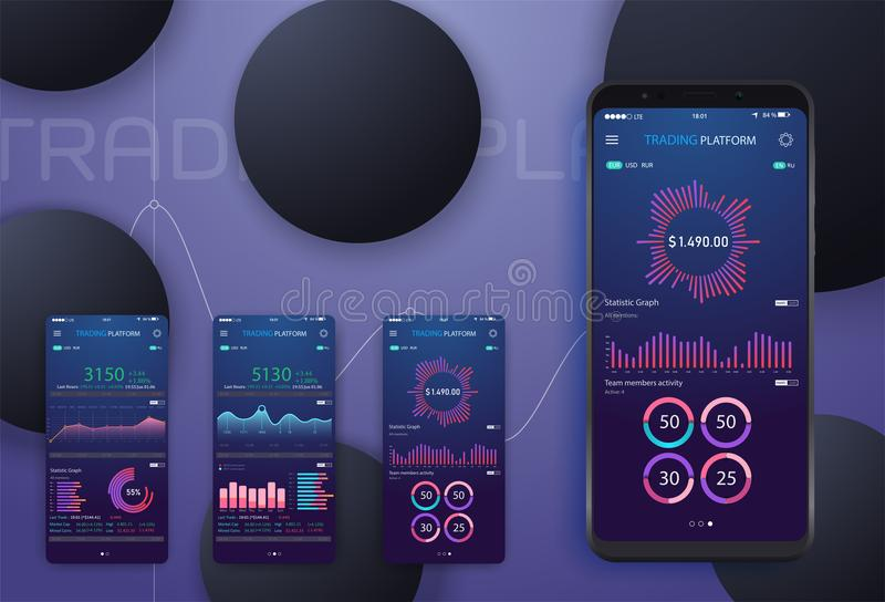 Анализ тенденции изменения дела на экране с диаграммами, дизайне smartphone перспективы плоском infographic на покрашенной предпо бесплатная иллюстрация