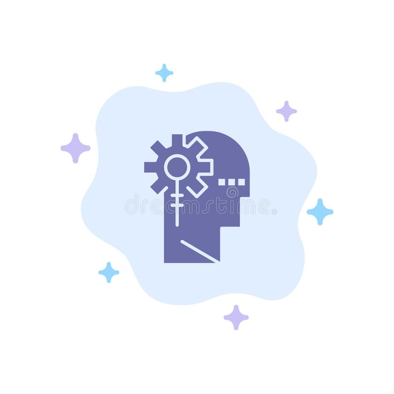 Аналитика, критическая, человеческая, информация, обработка синего значка на абстрактном облачном фоне иллюстрация штока