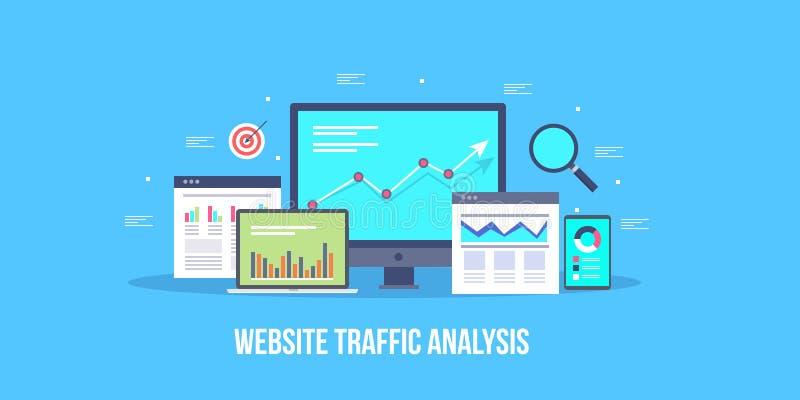 Аналитик движения вебсайта, seo, социальные средства массовой информации, отчет о реклама онлайна Плоское знамя вектора дизайна иллюстрация вектора