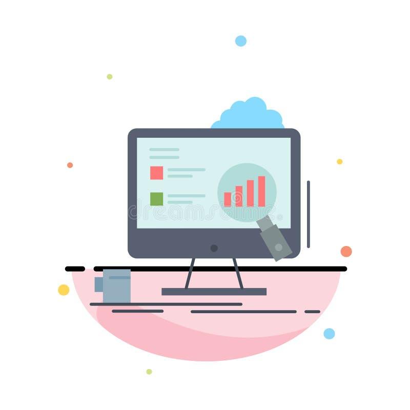 аналитик, доска, представление, ноутбук, вектор значка цвета статистики плоский иллюстрация вектора