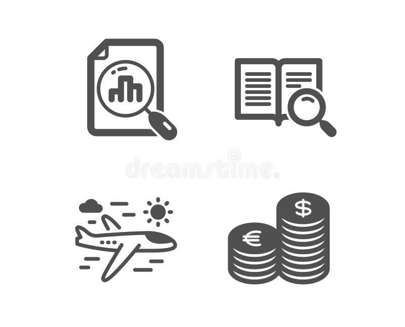 Аналитик изображает диаграммой, перемещение самолета и текст поиска значки Знак валюты Отчет о диаграммы, полет отключения, откры иллюстрация штока