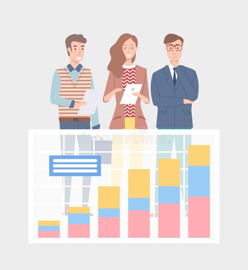 Аналитик коммерческой статистики вектором специалистов иллюстрация штока