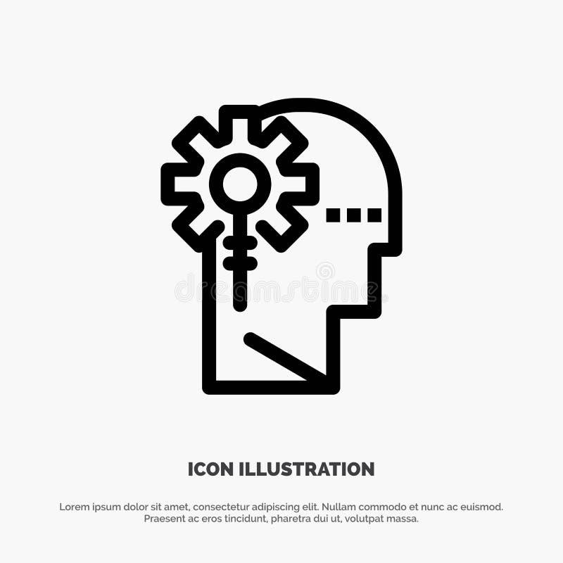 Аналитик, критический, человеческий, информация, вектор значка технологической линии бесплатная иллюстрация