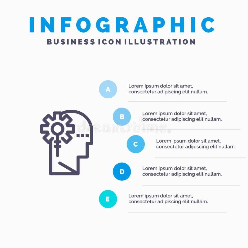 Аналитик, критический, человеческий, информация, значок технологической линии с предпосылкой infographics представления 5 шагов иллюстрация штока