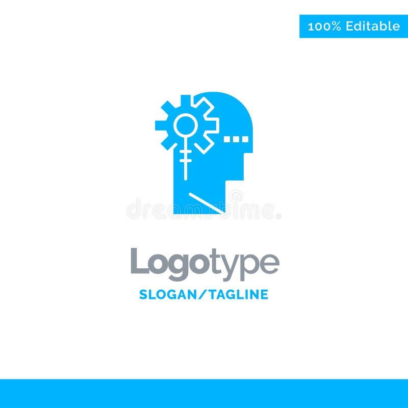 Аналитик, критический, человеческий, информация, обрабатывая голубой твердый шаблон логотипа r бесплатная иллюстрация