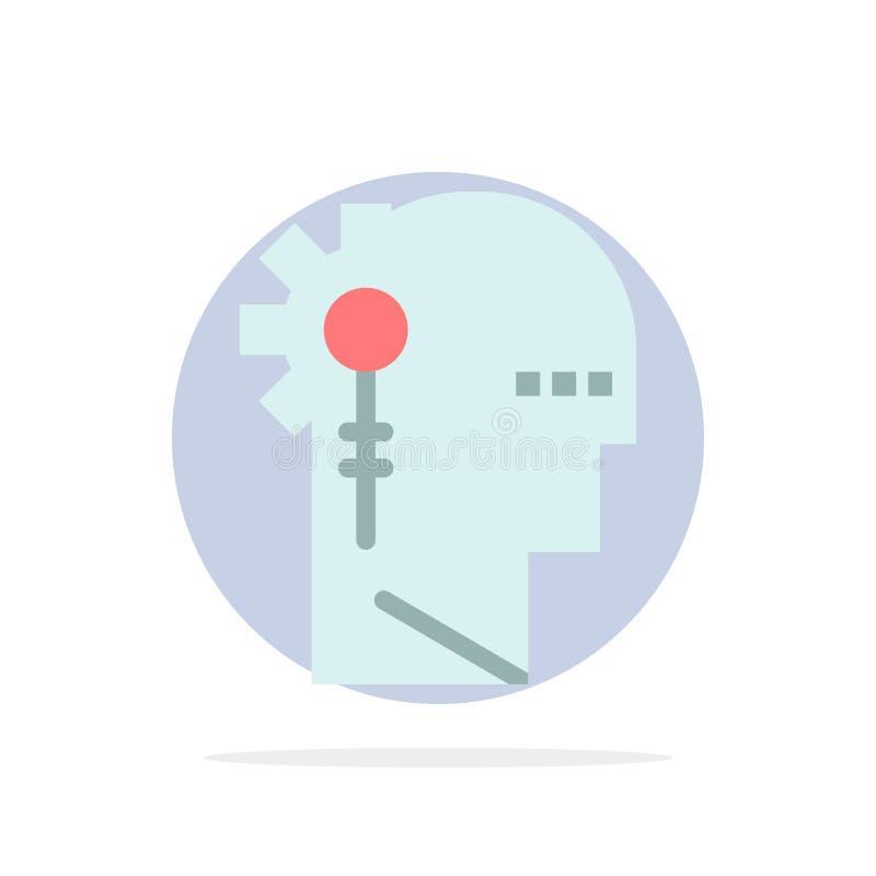 Аналитик, критический, человеческий, информация, обрабатывая значок цвета абстрактной предпосылки круга плоский иллюстрация штока
