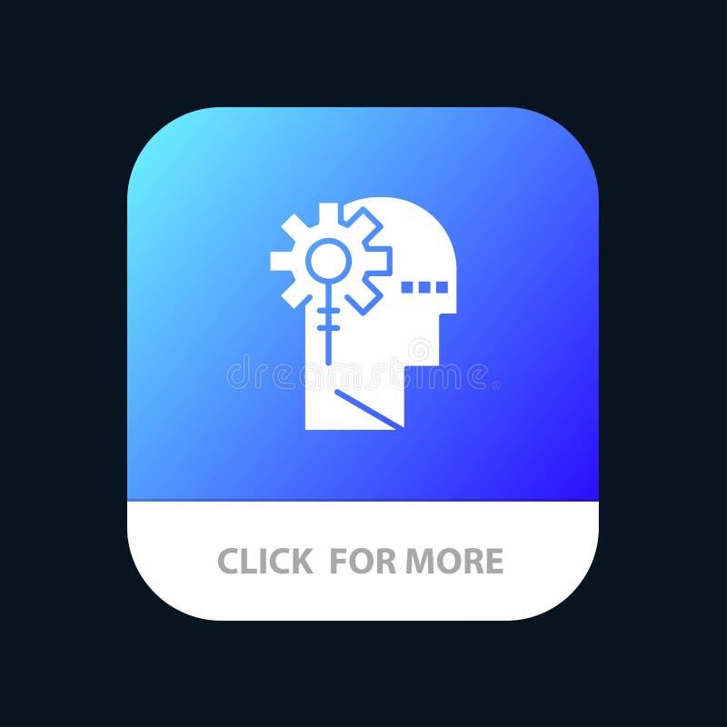 Аналитик, критический, человеческий, информация, обрабатывая мобильную кнопку приложения Андроид и глиф IOS версия бесплатная иллюстрация