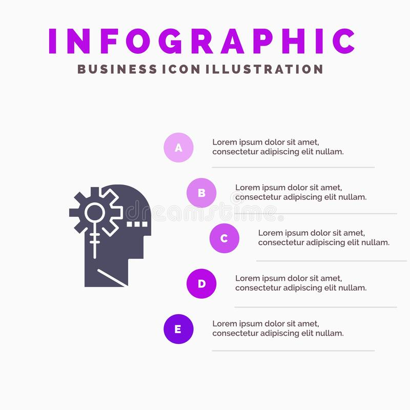 Аналитик, критический, человеческий, информация, обрабатывая твердую предпосылку представления шагов Infographics 5 значка иллюстрация штока