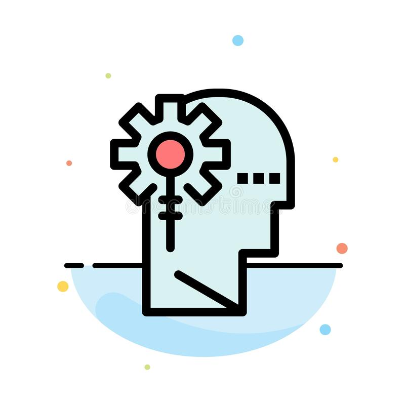 Аналитик, критический, человеческий, информация, обрабатывая абстрактный плоский шаблон значка цвета бесплатная иллюстрация