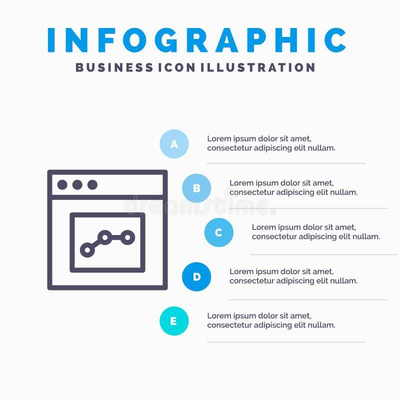 Аналитик, сообщение, интерфейс, линия потребителя значок с предпосылкой infographics представления 5 шагов иллюстрация штока